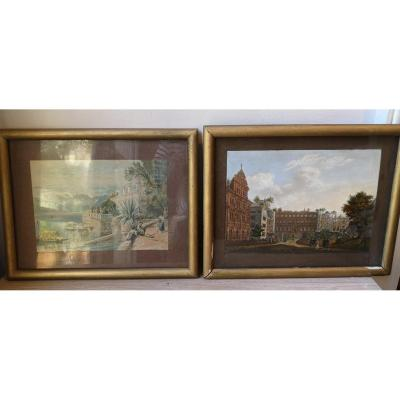 Pair Of Engravings Enhanced In Gouache - Landscapes - End XIX E.