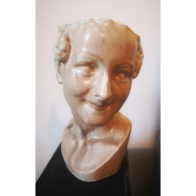 Buste Féminin -tête à Chapeau- Céramique- Vers 1930.