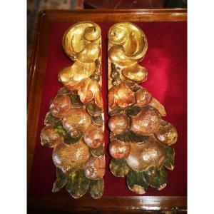 Pair Of Elements Of Woodwork-bois Gilded And Fruit-eighteenth S
