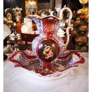 Aiguière Et Son Bassin-porcelaine De Paris-vierge à La Chaise-xixe S.