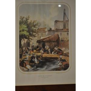 Old Color Engraving 19th Time Nohanent Washhouse Near Clermont Auvergne