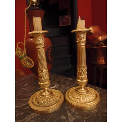 Paire De Bougeoirs En Bronze Doré