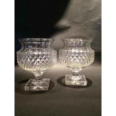 Paire De Petits Vases En Cristal Taillé