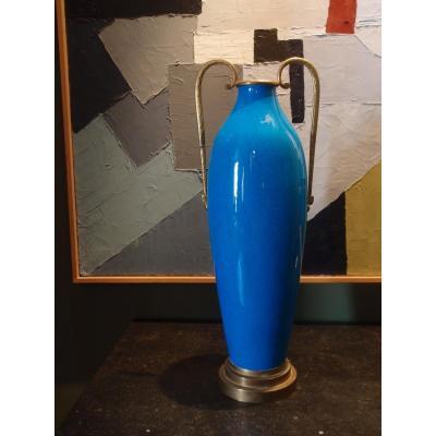 Grand Vase Fuseau Art Déco En Céramique