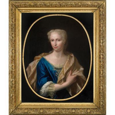 Portrait de Femme à la robe bleue. Entourage de François De Troy