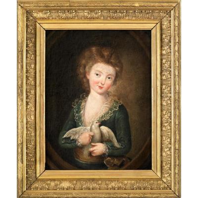 Portrait d'Un Enfant Enlaçant Une Colombe Dans Un Cadre Doré. Suiveur De Jean-baptiste Greuze