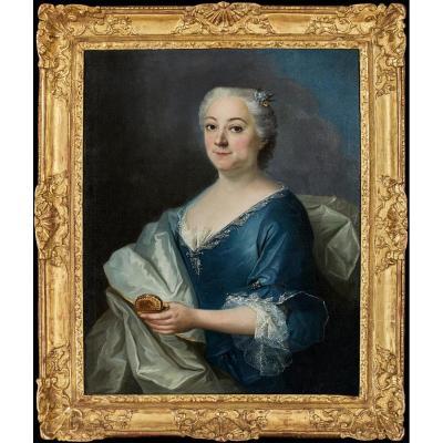 Portait d'Une Dame à La Tabatière - 18ème Siècle - Ecole De Jean-françois Delyen