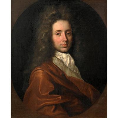 Portrait d'Un Gentilhomme Au Manteau Rouge. Attribué à Alexis-simon Belle