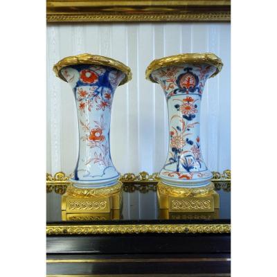 Paire De Vases En Porcelaine à Décor Imari Et Monture En Bronze Doré, Fin XVIIIème
