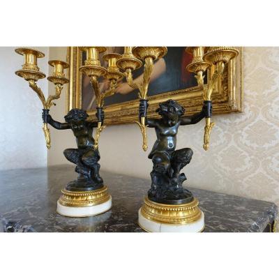 Paire de Candélabres en Bronze, « Aux Jeunes Faunes », dans le goût de Clodion – Fin XIXème