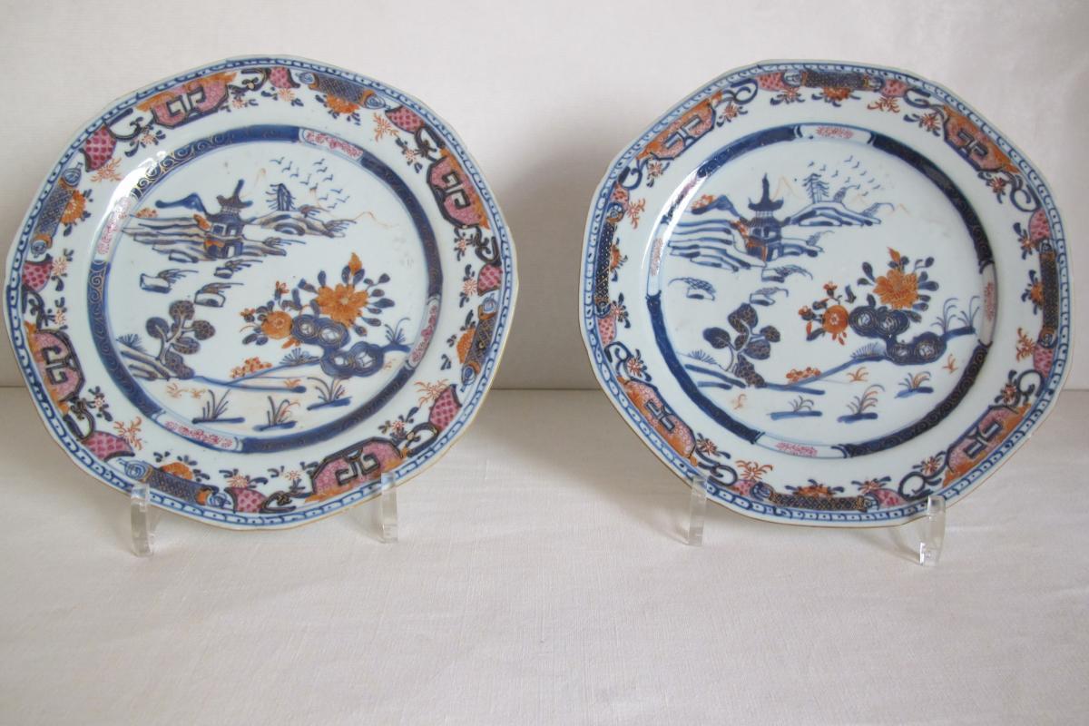 Paire d'Assiettes Porcelaine De Chine Fin 18e Siècle