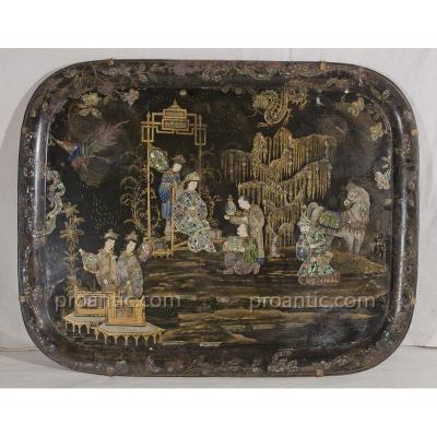 Painted Metal Tray, China Decor - Napoleon III Period