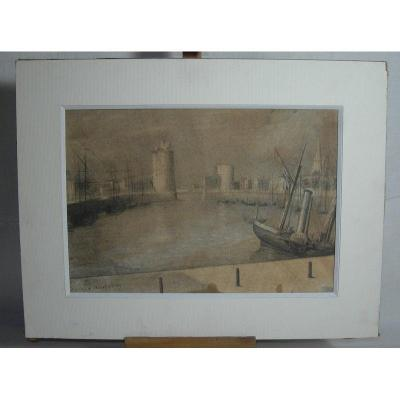 Le Port De La Rochelle 1869, Pencil Drawing