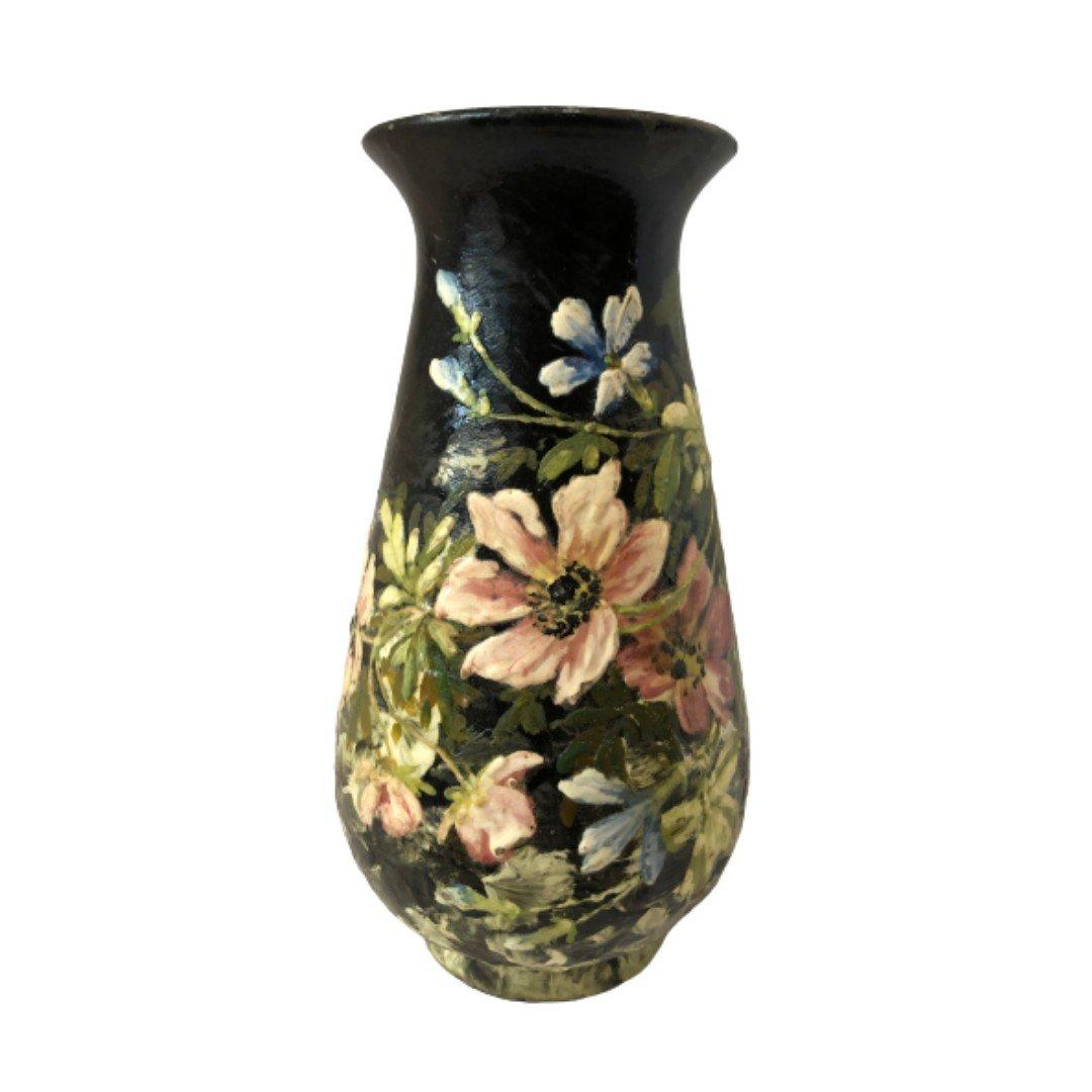 Atelier Lefront, Fontainebleau, Vase Aux Anémones, Fin Du XIXe Siècle