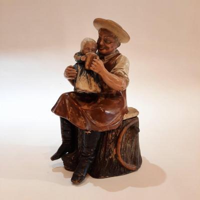 Bernard Bloch, pot à tabac, céramique d'un vieil homme et d'un enfant, Vers 1900, Belgique
