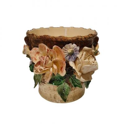 Longchamps, Flowerpot Decorated With Relief Flowers, End Of The 19th Century