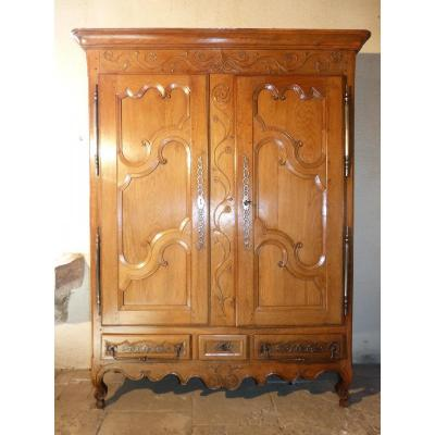Small Wardrobe Lorraine Blond Oak 3 Drawers 208 Cm