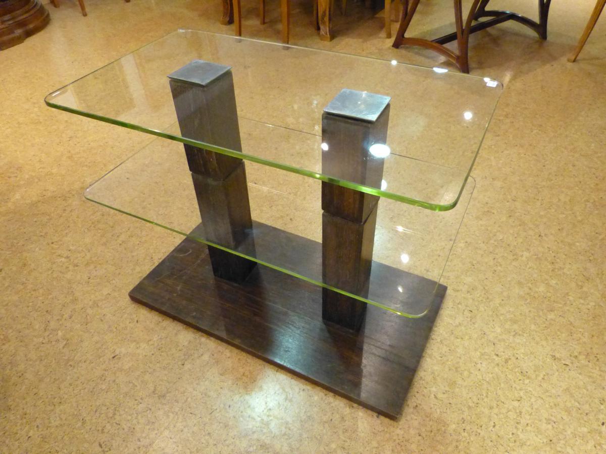 Table Basse Moderniste Chêne Cérusé Et Verre
