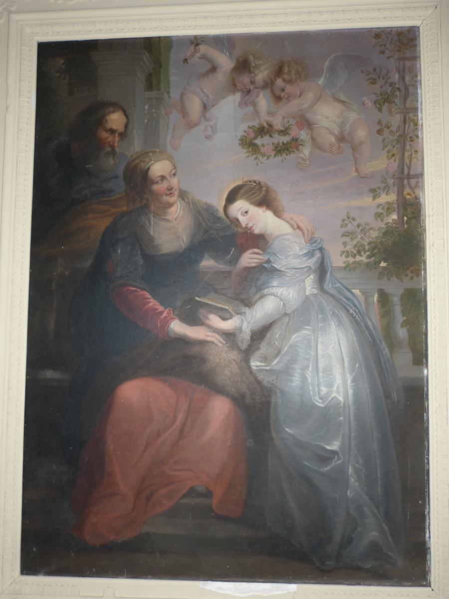 Large Painting: Oil On Canvas, Education Of The Virgin