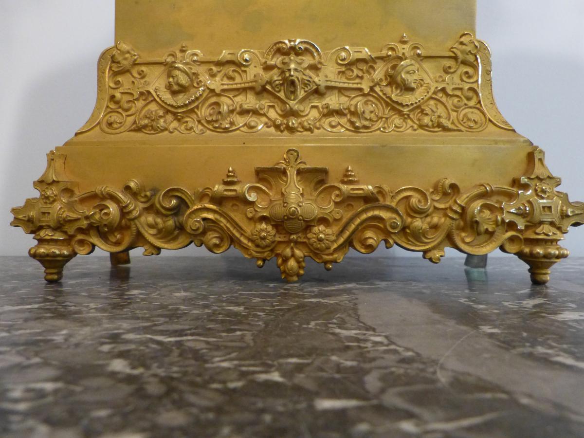 Pendule Romantique En Bronze Doré époque Restauration -photo-1