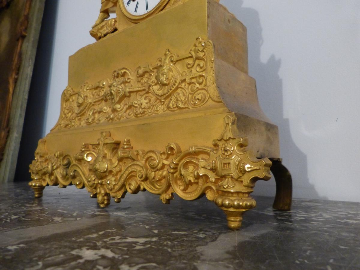 Pendule Romantique En Bronze Doré époque Restauration -photo-2