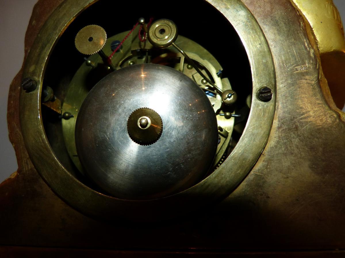 Pendule Romantique En Bronze Doré époque Restauration -photo-3