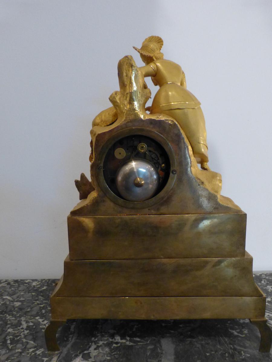 Pendule Romantique En Bronze Doré époque Restauration -photo-5