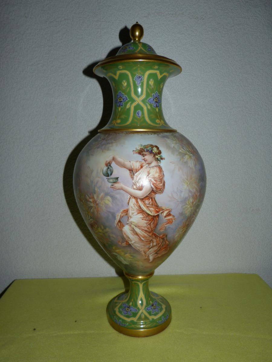 Grand Vase Art Nouveau Porcelaine Sèvres