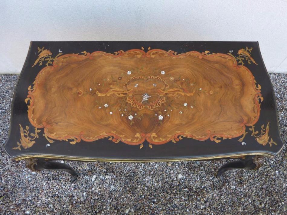 Table à Jeux Napoléon III Marqueterie Et Bronzes Dorés-photo-2