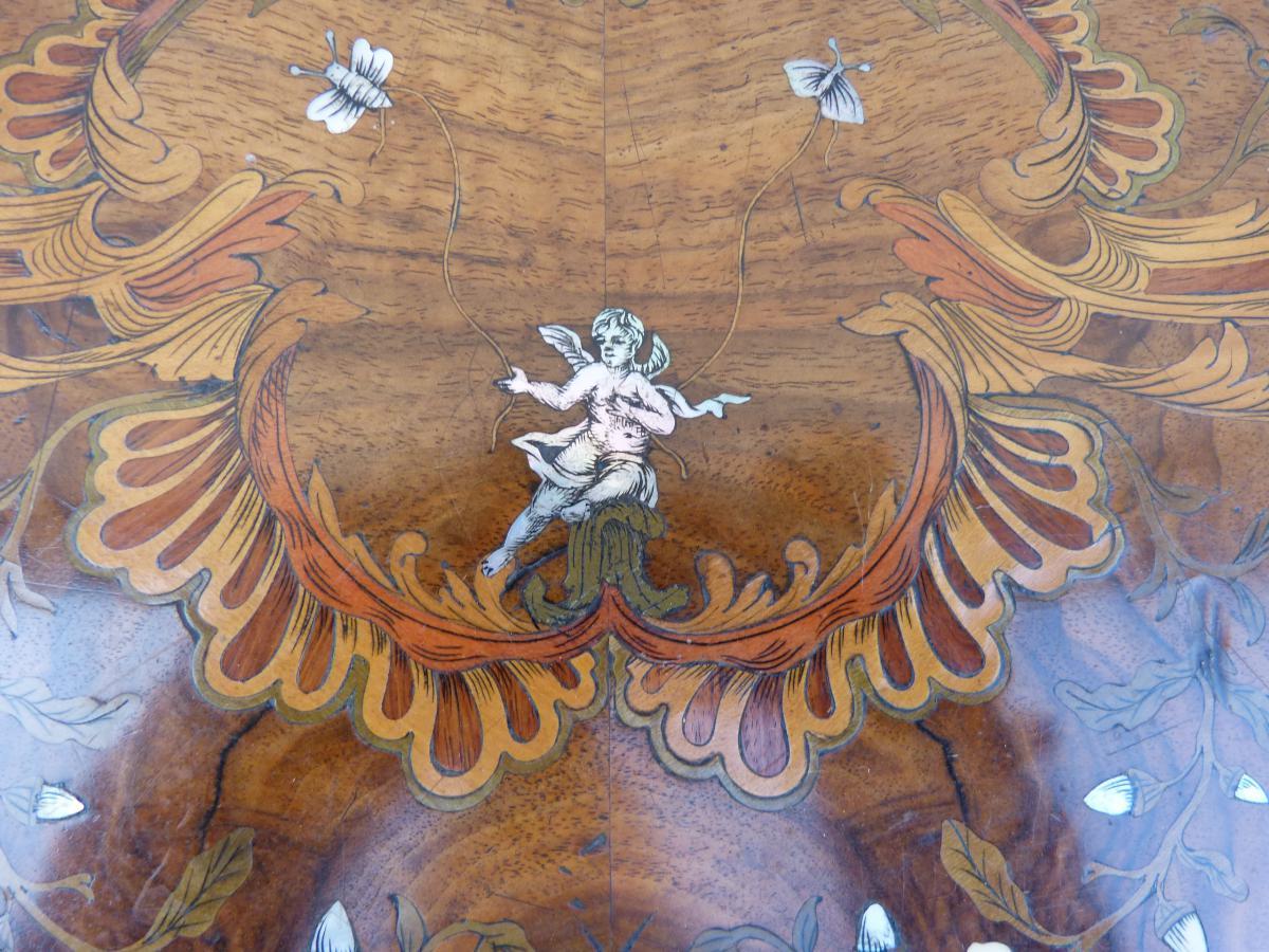 Table à Jeux Napoléon III Marqueterie Et Bronzes Dorés-photo-3