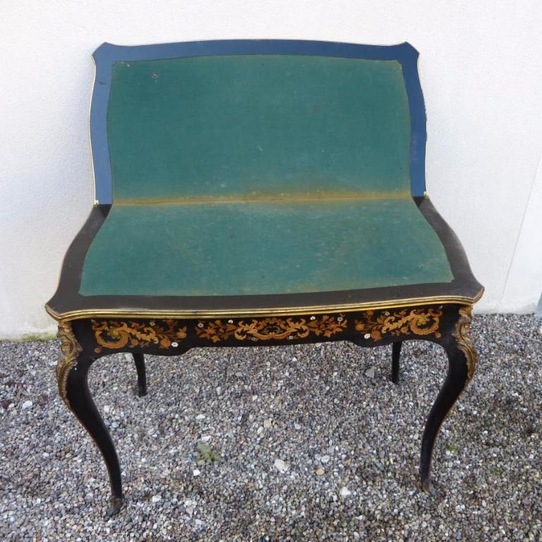 Table à Jeux Napoléon III Marqueterie Et Bronzes Dorés-photo-4