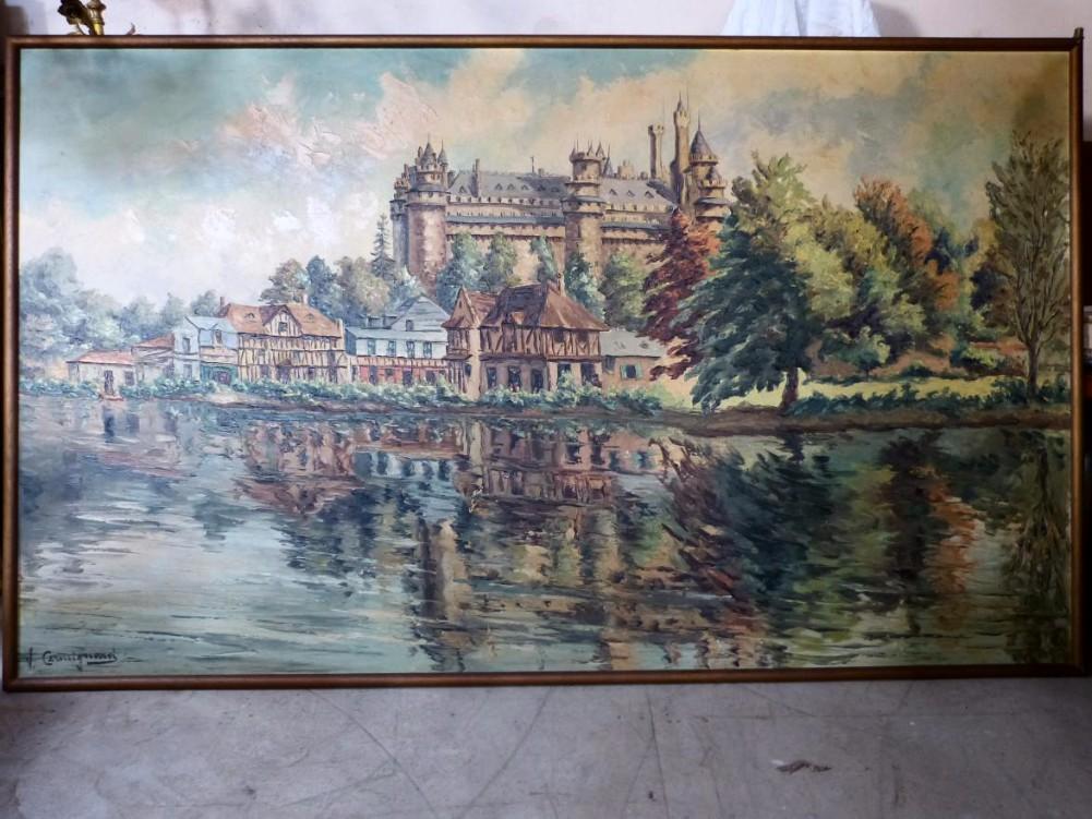 Vincent Cermignani Grande Huile Sur Toile Chateau De Pierrefond Oise
