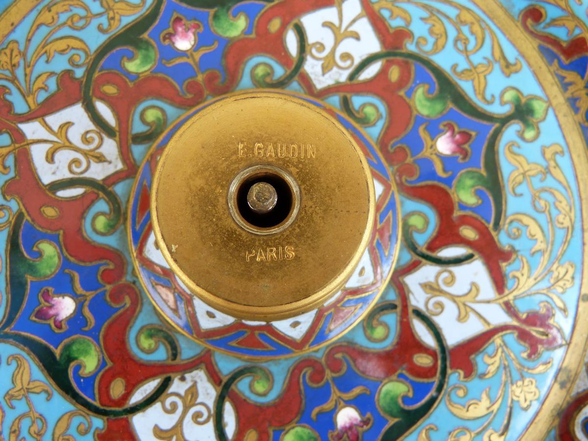 Cloisonné Perfume Burner Napoléon III, Signed E.gaudin Paris-photo-3