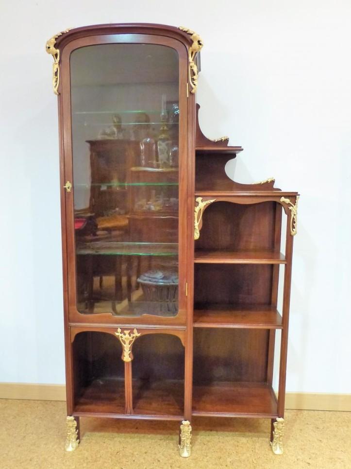 Vitrine Art Nouveau En Acajou Et Bronzes Décor Chardons