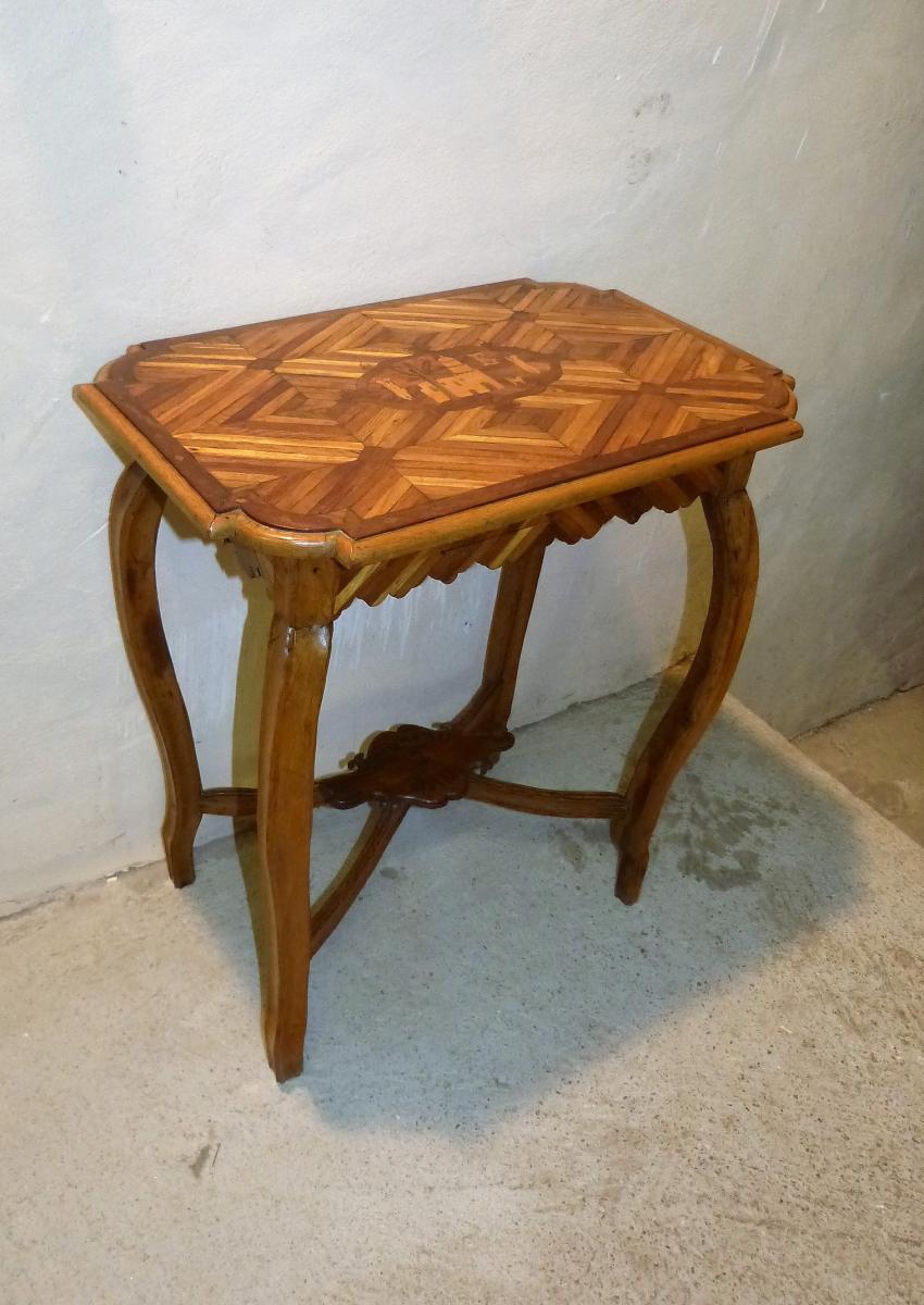 Souvenir De Biskra Algérie Petite Table Marqueterie Orientaliste  Colonie