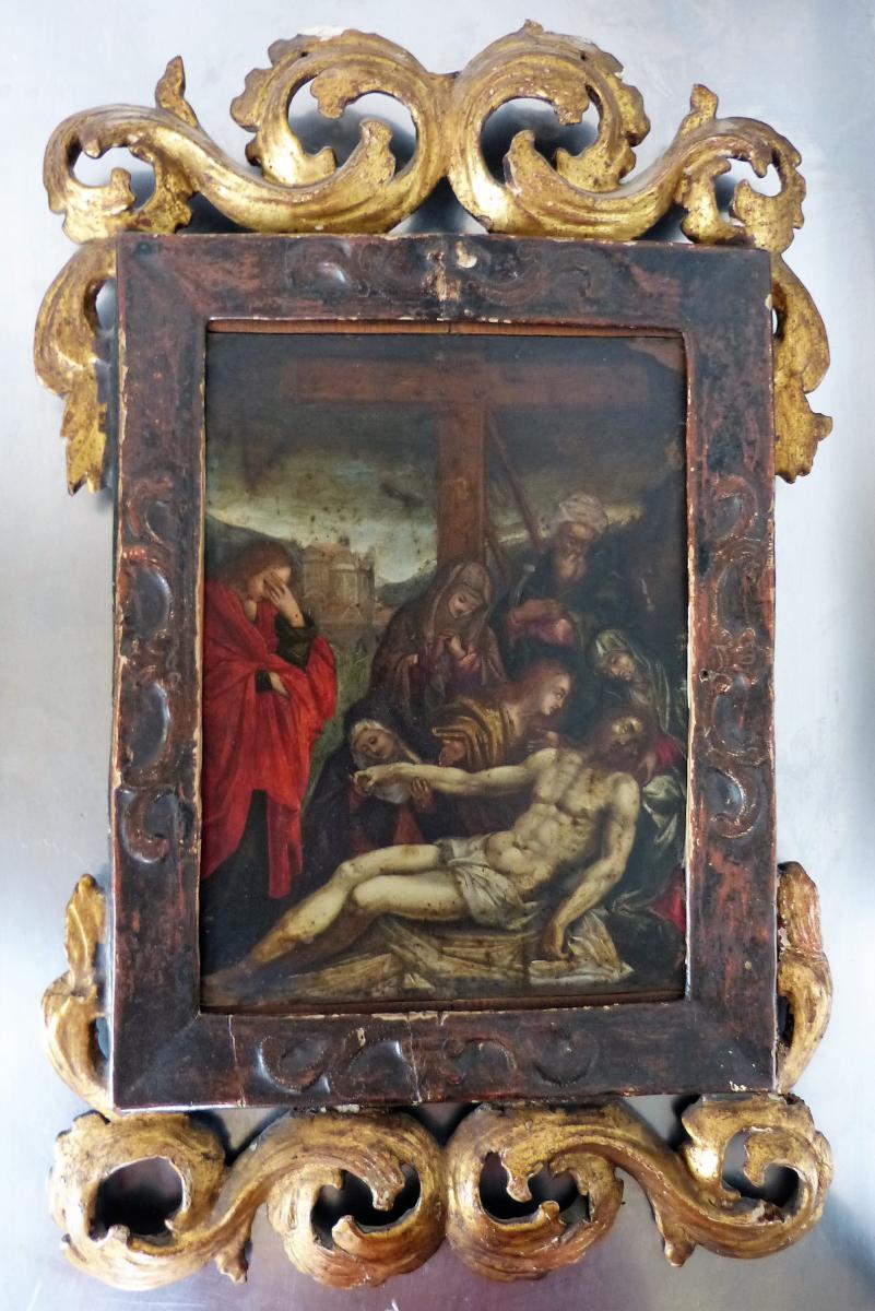 Huile Sur Cuivre 17ème Déposition Du Christ Cadre Italien