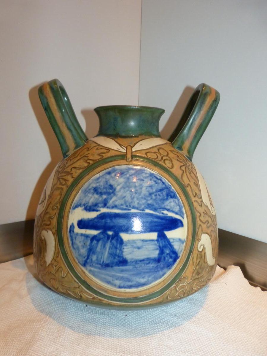Hb Quimper Alphonse Chanteau Vase à Anses Druidique