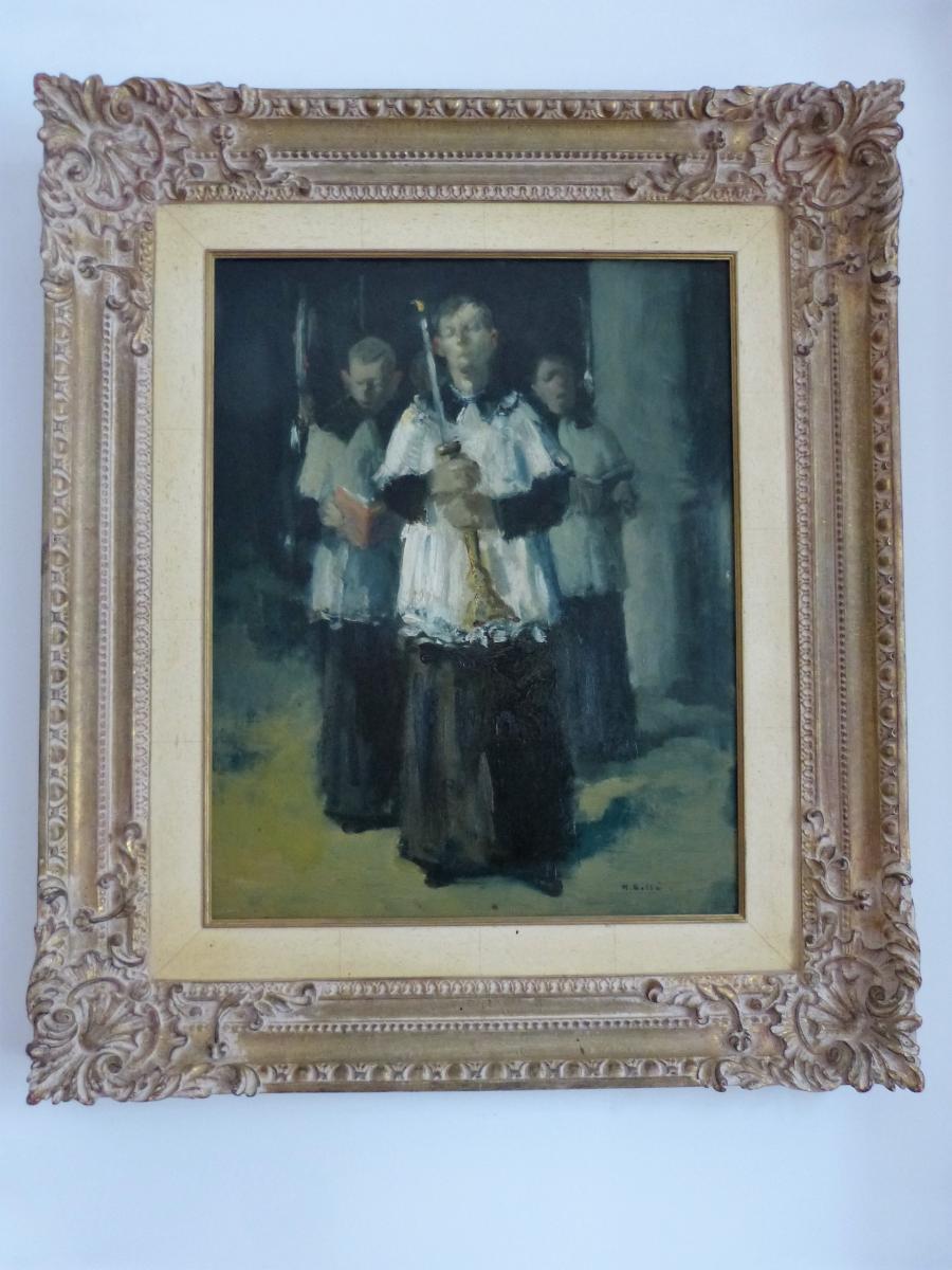 """Martin Bollé , Huile Sur Isorel """"les Enfants De Cœur"""""""