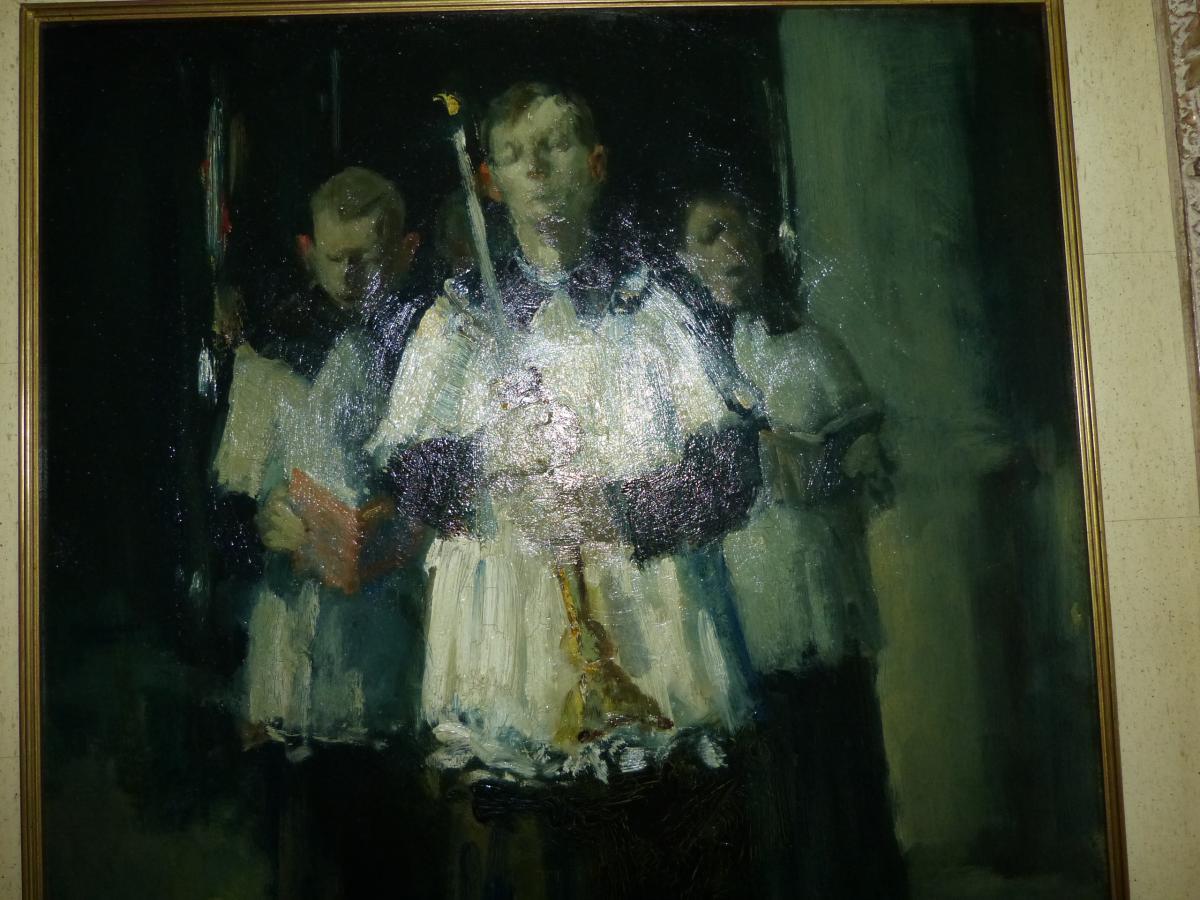 """Martin Bollé , Huile Sur Isorel """"les Enfants De Cœur""""-photo-1"""