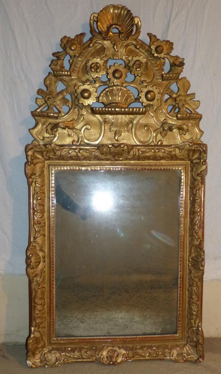 Mirror Golden Wood Regency Period 135 Cm Fronton