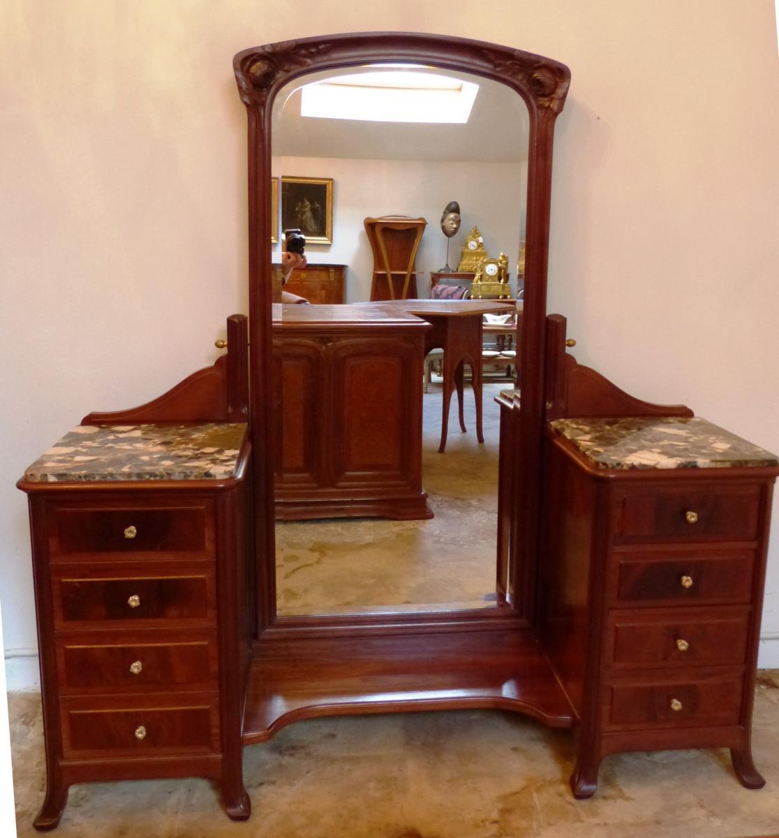 Art Nouveau Mahogany Vanity Table Louis Chambry
