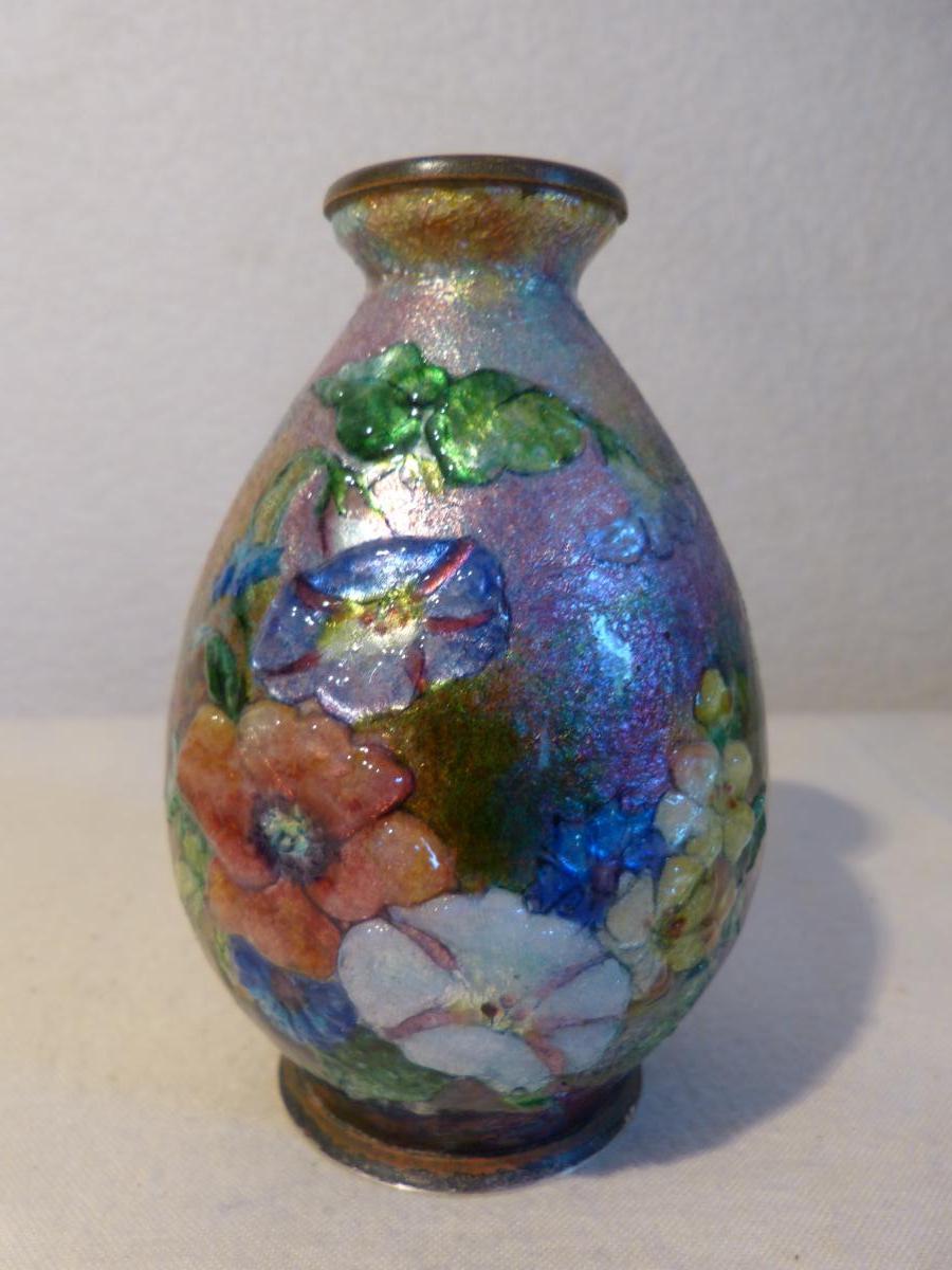 Camille Fauré Limoges Vase émail Décor Fleurs