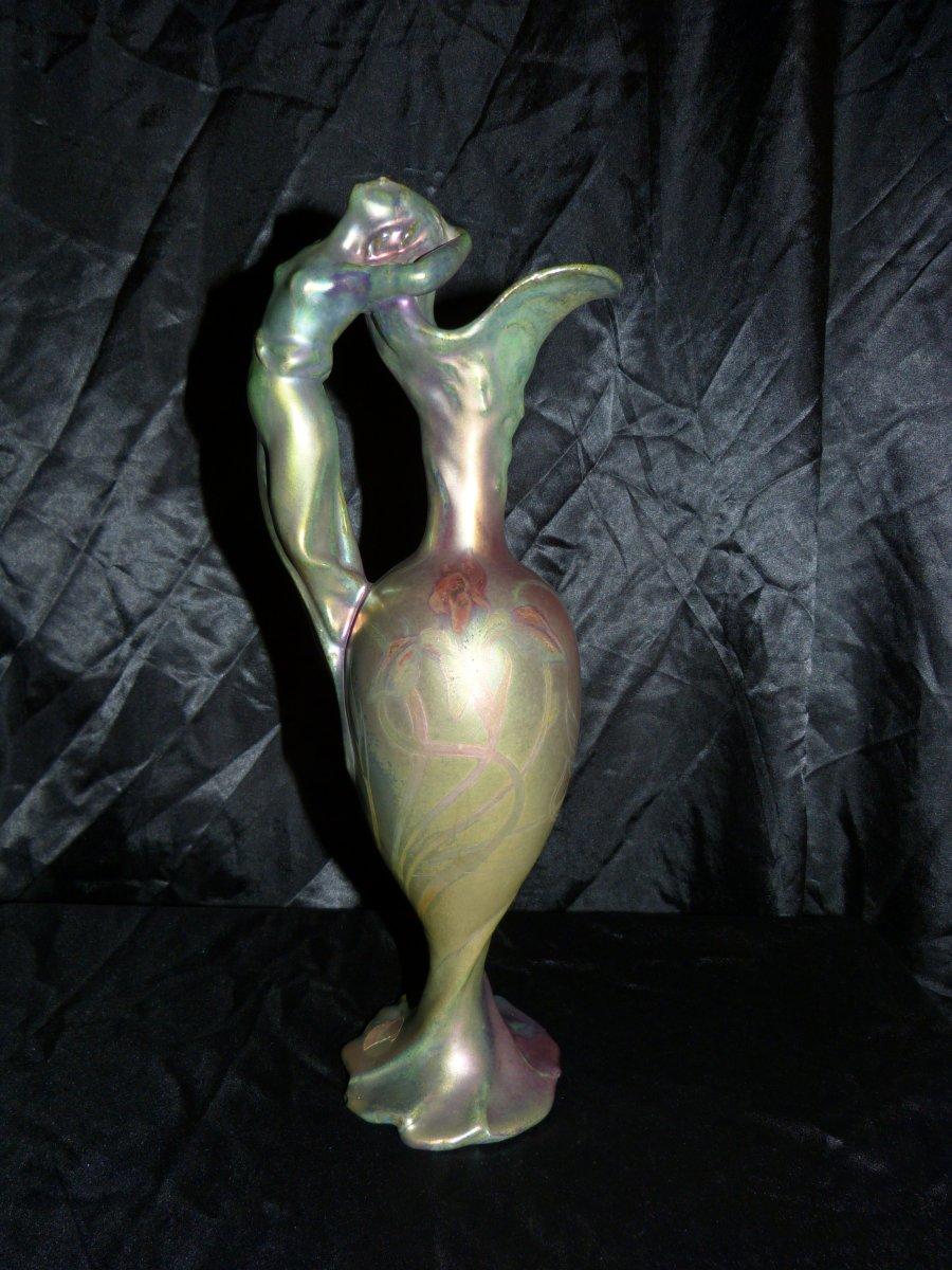 Delphin Massier Vallauris Art Nouveau Pitcher In Iridescent Ceramic