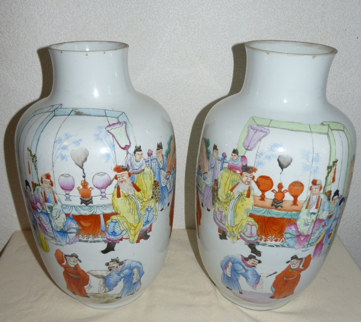 China, Brand Qianlong: Pair Of Large Vases Porcelain Decor Characters 43cm