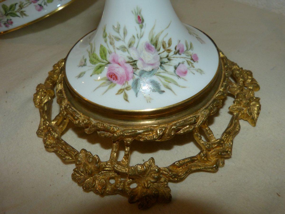 Coupe En Porcelaine De  Sèvres Montée Bronze Doré Napoléon III-photo-3