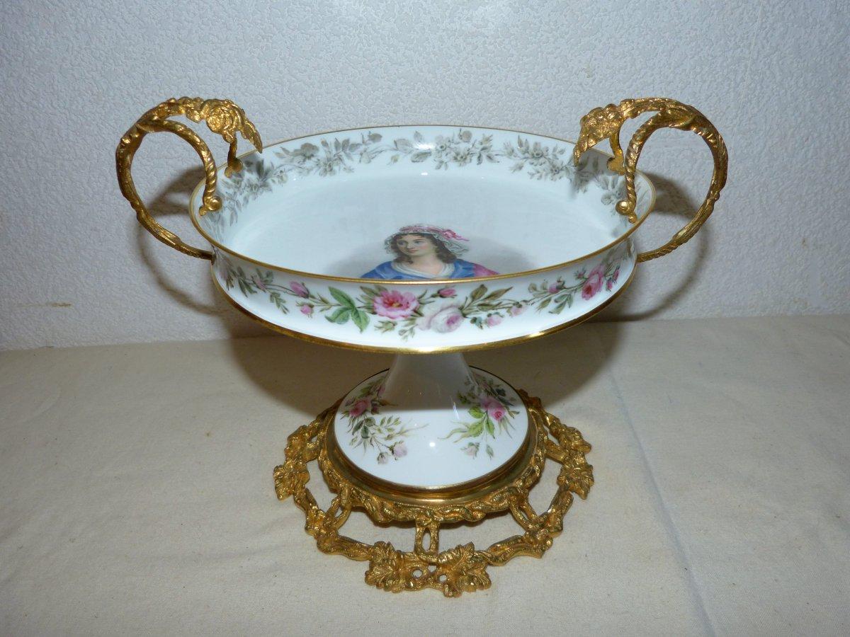 Coupe En Porcelaine De  Sèvres Montée Bronze Doré Napoléon III
