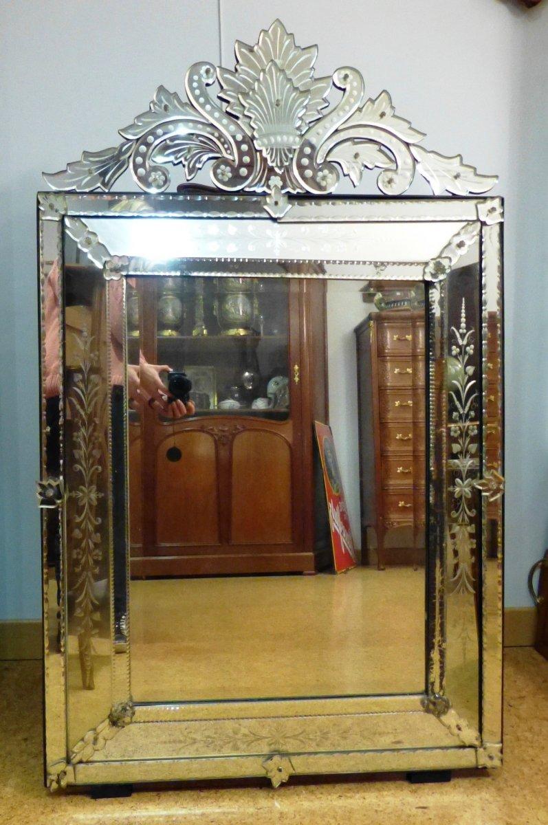 Grand Miroir De Venise à Fronton Et Pare Closes 136 cm