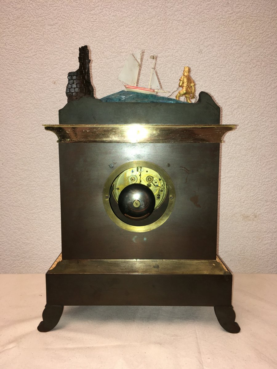 Pendule Automate Voilier près du rivage  époque 19ème-photo-5
