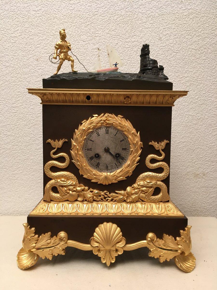 Pendule Automate Voilier près du rivage  époque 19ème