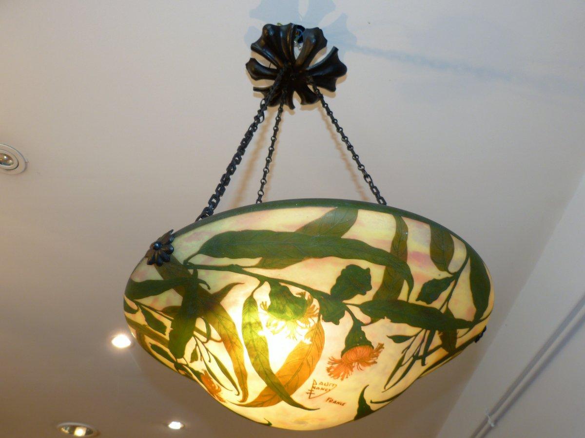 Daum Nancy, Vasque Lustre d'éclairage Motif Eucalyptus Art Nouveau